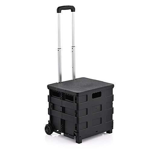 moxin Chariot en Plastique Pliable, poignée en Aluminium Pliable à roulettes, véhicule de Transport de Camping,B