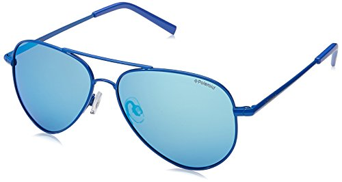 Polaroid Unisex-Kinder PLD 8015/N JY 201 Sonnenbrille, Blau (Bluette/Greyblmirror Pz), 52