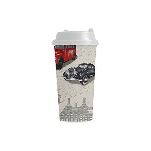 London Symbole mit Elizabeth Tower (big Ben) Kundenspezifischer Druck 16 Unze Doppelwand Plastikisolierte Sportwasser Flaschen Schalen Pendler Reise Kaffeetassen für Studenten Frauen Milch Teacup