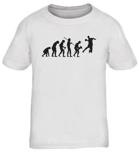 Shirtstreet24, EVOLUTION HANDBALL, WM EM Sport Kinder Fun T-Shirt , Größe: 152/164,weiß