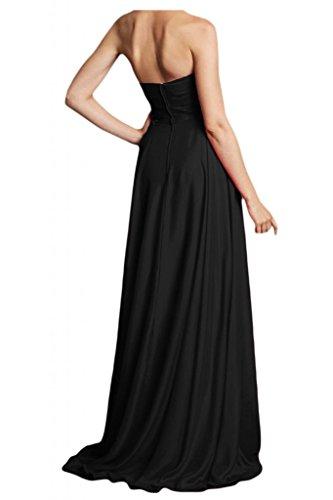 Toscana a forma di cuore Chiffon abiti da sposa general-case la sera lungo party vestimento Ball dal giovane sposa Bete vestimento Nero