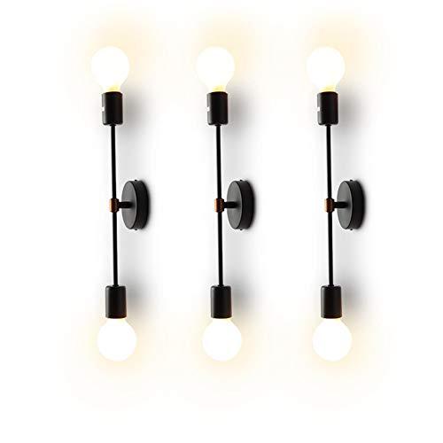 XIHOME Minimalista Negro 2 luces LED Lámpara de pared arriba/abajo Lámpara de interior, 180 ° Ajustable, País rústico Loft Vintage Aplique de pared Adaptación Retro Cálidas lámparas Edison E27 Máx.