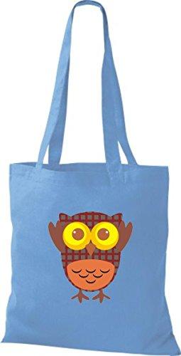 ShirtInStyle Jute Stoffbeutel Bunte Eule niedliche Tragetasche mit Punkte Owl Retro diverse Farbe, weiss hellblau