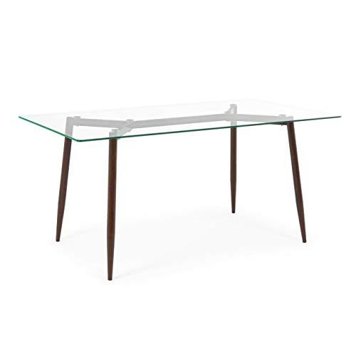 ARREDinITALY Table Design Bois Naturel Plateau Verre Rectangulaire 160 x 90