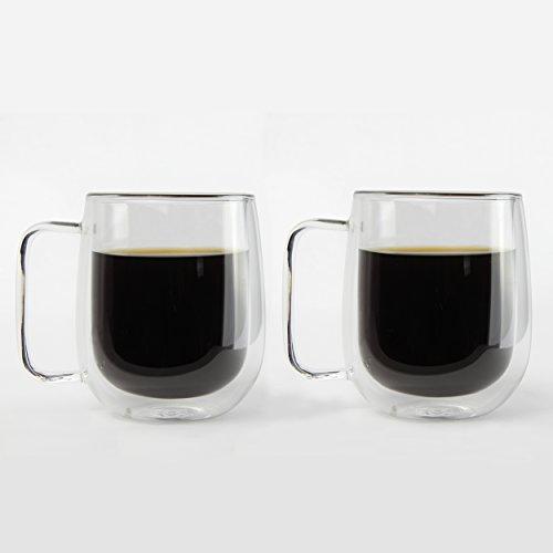 KOFFI Kup – Verres à Double Paroi 400 ml – en verre borosilicate – pour le thé, café, latte, cappuccino, Bière