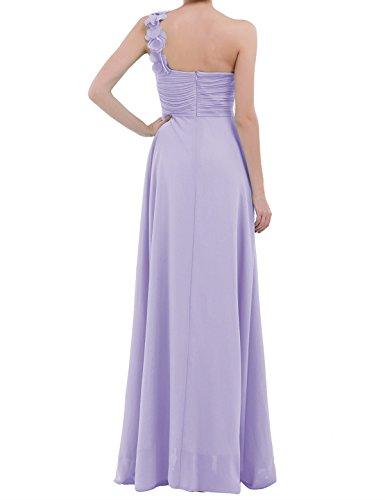 iiniim Damen Elegant Cocktailkleid Festliches Ein-Schulter Brautjungferkleid Hochzeit Kleid Chiffon Faltenrock Langes Abendkleid Partykleid Festzug Lavendel