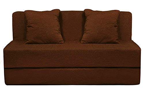 Aart Store High-Density Foam Sofa Cums Bed Furniture for Living Room/ Home Two Seater 4x6 Feet with Two Cushion Perfect for Guests Brown Color