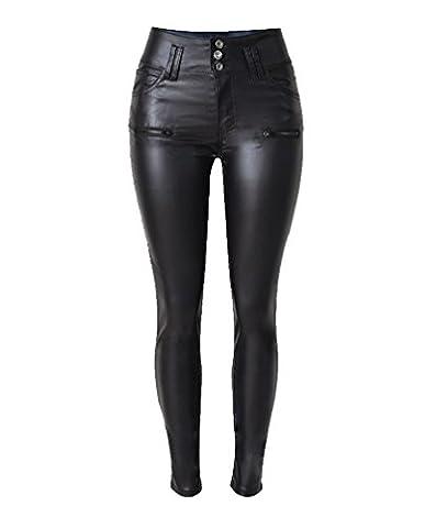 YiLianDa Leggings Pantalon Femme Fille Cuir Faux PU Taille Haute Sexy Casual Ajusté Extensible Elastique 42