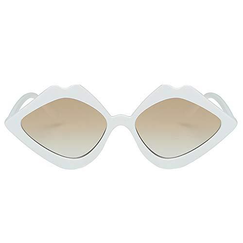 Tonpot Fashion Sonnenbrille Unisex Lippenform polarisiert Sonnenbrille Stil Eyewear für Outdoor Brille 15 * 13.5 * 3.7cm weiß