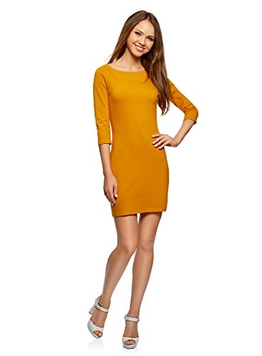 oodji Ultra Damen Jersey-Kleid Basic, Orange, DE 42 / EU 44 / XL