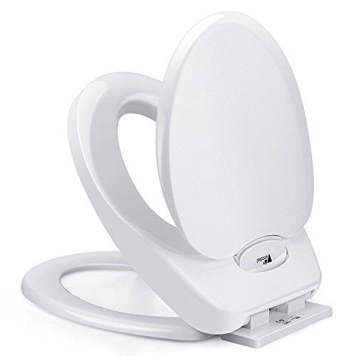 Amzdeal Toilettensitz Familie mit Kindersitz, WC Kindersitz, Toilettendeckel Absenkautomatik mit Soft-Close Funktion und 4 rutschfeste Füße