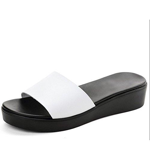 Pantofole di modo di estate portano i pantofole del dispositivo di raffreddamento del cuoio Pantofole piane della spiaggia femminile (2 colori opzionali) (formato facoltativo) ( Colore : A , dimension A