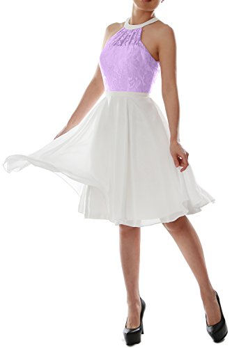 MACloth Women Halter Lace Short Wedding Party Bridesmaid Dress Homecoming Gown Lavande