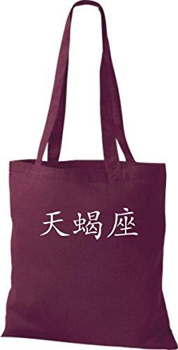 ShirtInStyle Stoffbeutel Chinesische Schriftzeichen Skorpion Baumwolltasche Beutel, diverse Farbe burgundy