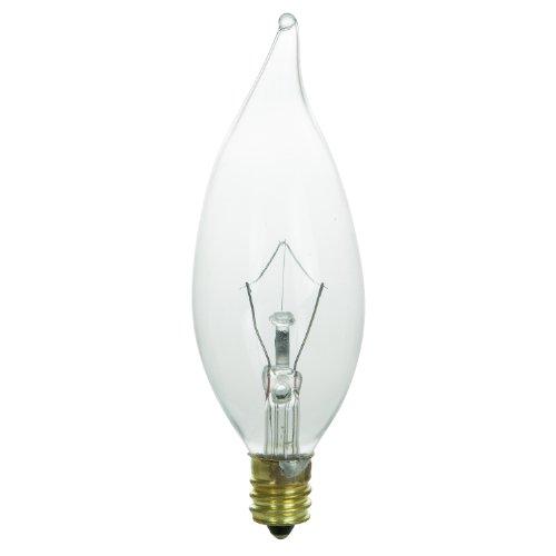 Sunlite Glühlampe 130Volt, Kandelaber, geriffelt, Kronleuchter Glühbirne, Flamme Spitze, glas, farblos 60 wattsW 130 voltsV -