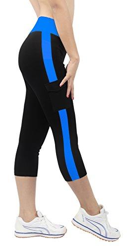 iLoveSIA® Damen Caprihosen zweifarbig Sport leggings Capri Tights Mit Seitentaschen 3/4 Schwarz+Marineblau