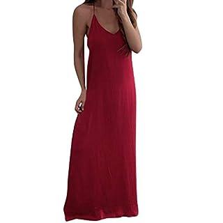 iHENGH Damen Sommer Rock Lässig Mode Kleider Bequem Frauen Röcke reizvolle ärmellose Spaghetti Bügel Chiffon Weste beiläufiges lose langes Kleid(Rot, S)