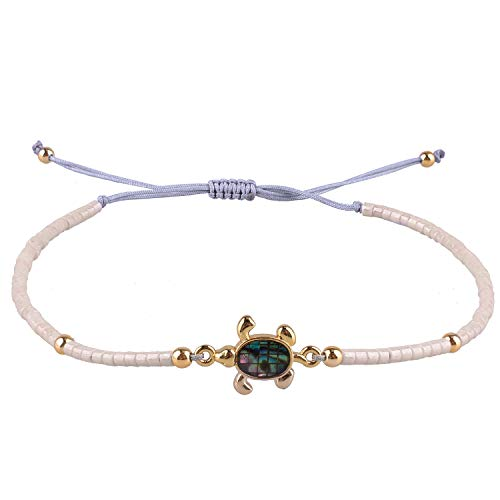 KELITCH Armbänder Damen Herren Japanische Import Perle Delikat Schildkröte Handgefertigt Einstellbare String Bangle Freundschaft Charme Armband für Pärchen Mädchen (Beige)