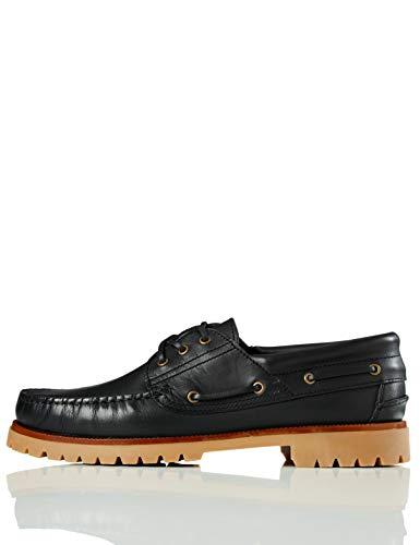 find. Leather, Scarpe da Barca Uomo, Nero(BLACK), 45 (US 11.5)