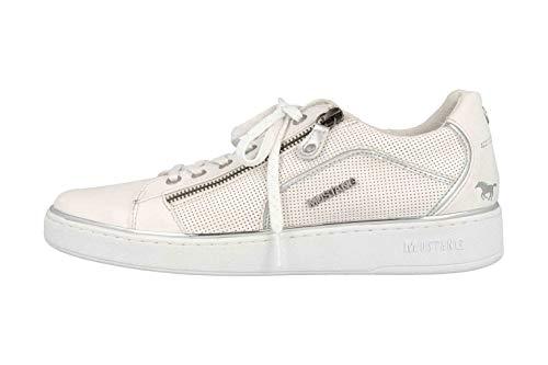 MUSTANG Damen 1300-303-121 Sneaker, Weiß/Silber 121, 42 EU