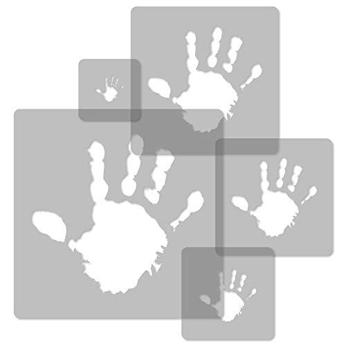 5 Stück wiederverwendbare Kunststoff-Schablonen // HAND // 34x34cm bis 9x9cm // Kinderzimmer-Dekorarion // Kinderzimmer-Vorlage (Kunststoff-schablone Flexible Wiederverwendbare)