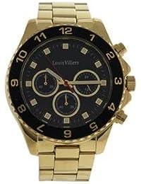 Reloj hombre Louis Villiers esfera 45 mm en steel Negro y pulsera dorada de acero lvag5877 – 10