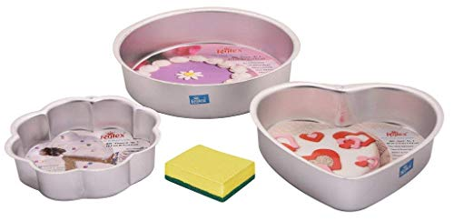 Rolex Cake Mould, Aluminium, Silver, 3 pc Set (Round, Heart, Flower) + 1 Milton (Spotzero) Scrub Free
