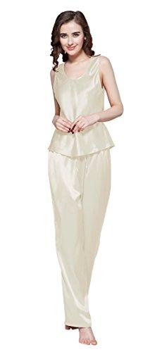 LILYSILK Ensembles de Pyjama 100% Soie pour Femme Uni 22 Momme Beige