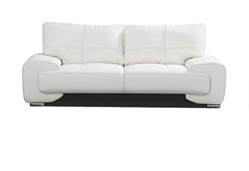 2-Sitzer Design Sofa 2er Büro Kunstleder Sofagarnitur Weiß Couch kleine FLORIDA