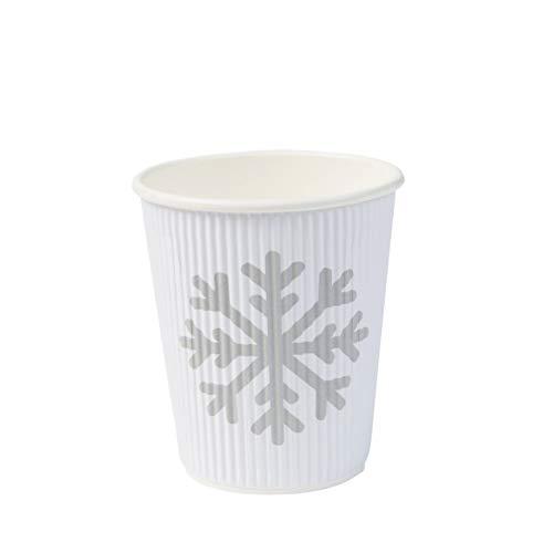 BIOZOYG schöne Winter Motiv Bio Pappbecher to Go Kaffee Becher Einweg I Coffee to Go Riffel-Becher 200 ml / 8 oz weiß I 500 Einwegbecher biologisch abbaubar
