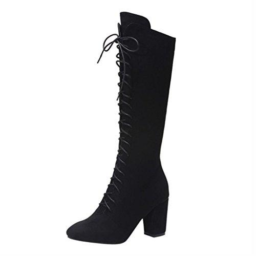 Frauen Over-High-Schuhe Upxiang Winter High Heel quadratische Ferse Kampfstiefel vorne Schnür-Band Krawatte Zip Kniehohe Stiefel (37, Schwarz) (Western-boot Ferse)