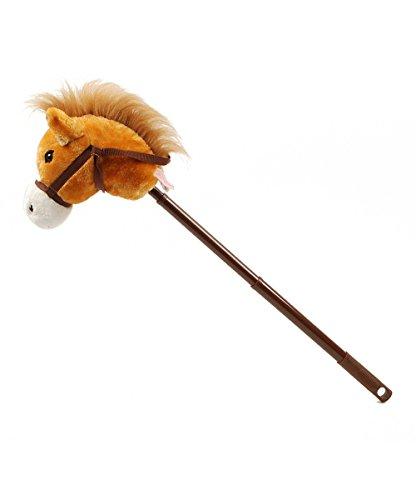 Linzy Plush Linzy Hobby Pferd, Galoppierendes Sounds mit Verstellbarer Teleskopstange Stick, Braun 91,4cm (Pferd Sound Stick Mit)