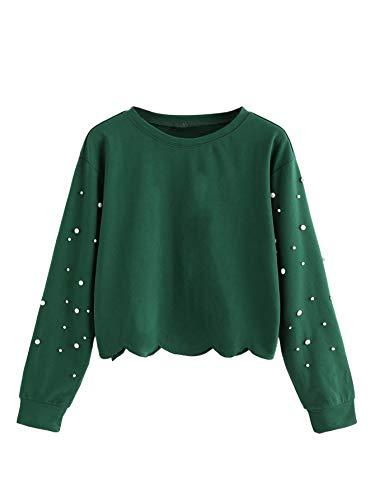 ROMWE Damen Lässig Langarm Ausgebogter Rand Ernte Tops Sweatshirt Pearl XL Grün-pearl -