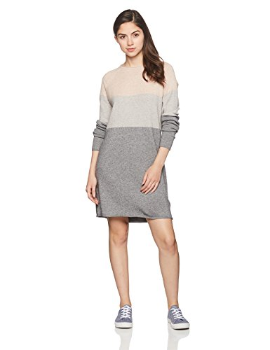 ONLY NOS Damen Kleid onlLILY L/S Dress KNT NOOS, Mehrfarbig (Mahogany Rose Detail:W Light MEDIUM Grey Melange), 38 (Herstellergröße:M)