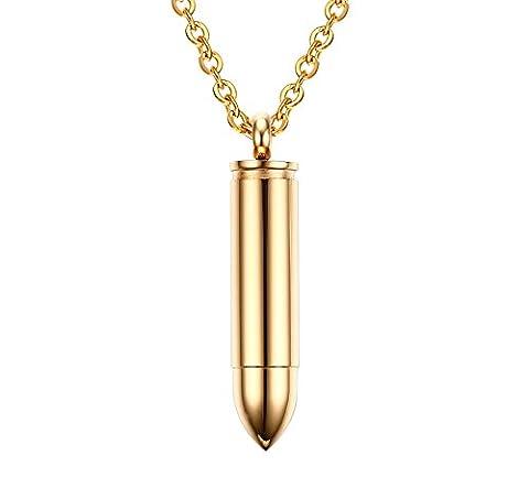 Vnox Herren Edelstahl Cremation Urne Memorial Andenken Bullet Anhänger Halskette mit Freikette Gold