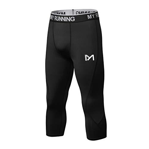 MeetHoo 3/4 Leggings Herren, Laufhose Sport Kompressionshose Atmungsaktiv Running Tights M?nner f¨¹r Fitness Gym