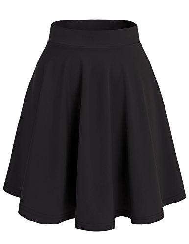 Dresstells Damen Basic Solide vielseitige Dehnbar Informell Mini Glocken Black-Midi