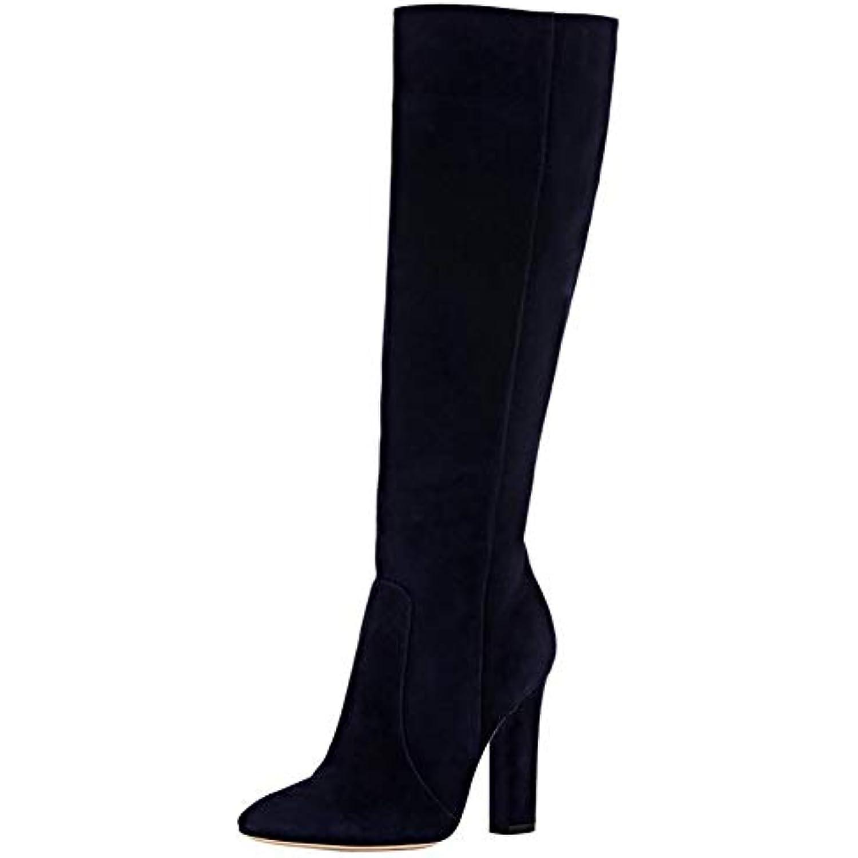 Genoux Shoes Femme Cuir Bottes 46eu Hautes black En Daim Cheval rvvBptw