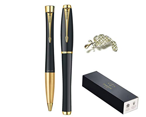 High Quality Premium Luxury Gift Set Muted Black with Gold Trim Finish Urban Ballpoint and Urban Rollerball Pens Medium Point Nib Black Ink by Parker + Gift Crystals Feather Brooch (Parker Urban Kugelschreiber)