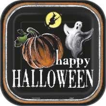Pappteller Geist Happy Halloween quatratisch