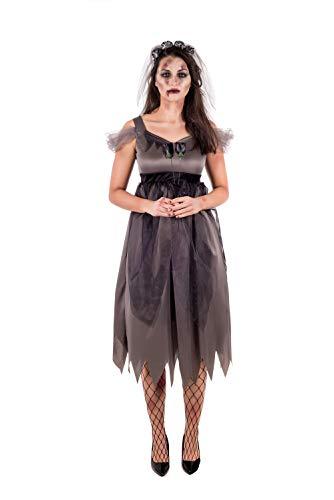 Fun Shack Damen Kostüm Korpse Braut Schwarz Zombie Hochzeit Kleid ()