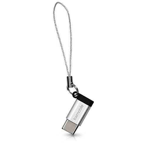 Preisvergleich Produktbild kwmobile 2x USB-C auf Micro-USB Adapter - 2er Set Aluminium Stecker USB 3.1 Typ C zu Micro USB mit Schlüsselanhänger - USB-Adapter Type-C weiß