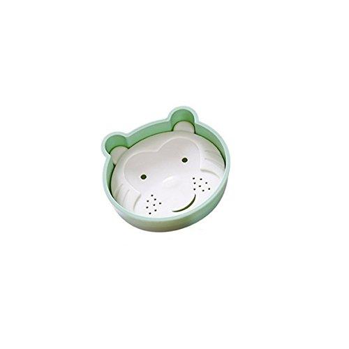 Bar Soap Tray Form (DDOQ Beste Cartoon Bär Form Doppelschicht Abfluss Soap Box Seifenschale Seifenhalter Container Soap Tray-Green)