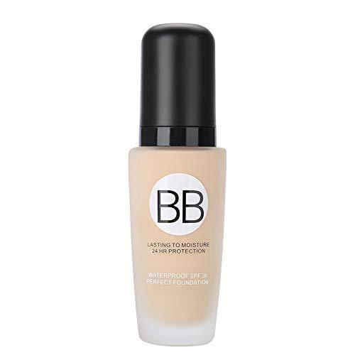 BB Cream 30ml Primer Base Foundation Poren bedecken Gesicht professionelles Make-up, feuchtigkeitsspendender makelloser Concealer erhellen Haut-Make-up-Kosmetik für UV-Schutz (02# (natürlich)) -