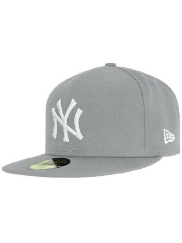 New Era Erwachsene Baseball Cap Mütze Mlb Basic New York Yankees 59Fifty Fitted, Grau, 6 7/8inch - 55cm