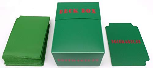 docsmagic.de Deck Box + 100 Mat Green Sleeves Standard - Kartenbox & Kartenhüllen Grün - Pokemon - Magic (Deck Box Grün)