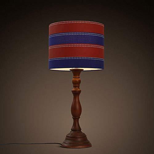 ZHANG NAN ● Retro American Bedroom Red Holztisch Lichter Arbeitszimmer Red & Blue Stoff Lampenschirm Schreibtisch Lichter Einfache Europäische Design Vintage Tischleuchten ● -