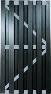 WPC Sichtschutzzaun Tor Malmö 90×180 cm, anthrazit mit Aluminium Streben