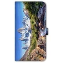 Leather flip Case carcasa Samsung Galaxy S6 Montagne - cascade pierre B