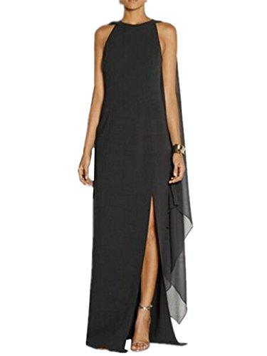 Ailient donna vestito lungo sexy eleganti abito da sera dress moda vestito da sera in chiffon abito partito cocktail tinta unita personalizzate